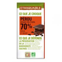 Ethiquable - Chocolat noir 70% cacao Pérou BIO 100g