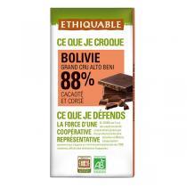 Ethiquable - Chocolat noir 88% cacao Bolivie 100g