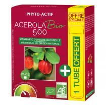 Phyto-Actif - Acérola 500 Bio 24 Comprimés + 1 Tube Offert - 36 Comprimés