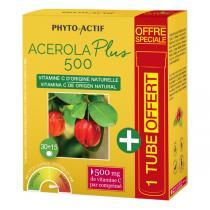 Phyto-Actif - Acérola Plus 500 + 1 Tube Offert - 45 Comprimés