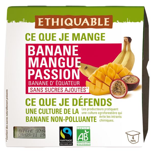 Ethiquable - Purée banane mangue passion  4x100g