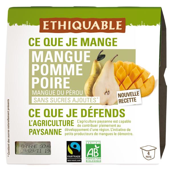 Ethiquable - Purée mangue pomme poire  4x100g