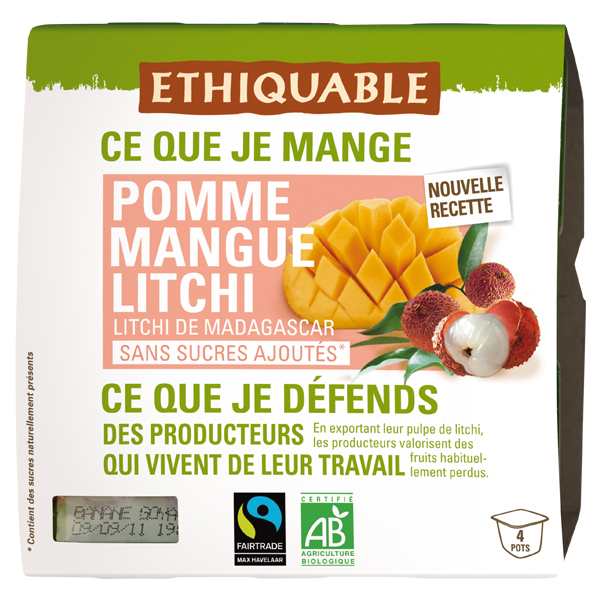 Ethiquable - Purée pomme mangue litchi  4x100g