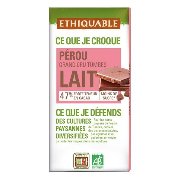 Ethiquable - Chocolat lait 47% Pérou BIO 100g