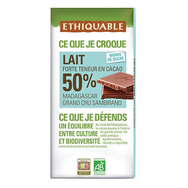 Ethiquable - Chocolat lait 50% cacao Madagascar BIO 100g