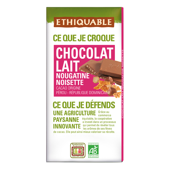 Ethiquable - Chocolat lait nougatine noisette BIO 100g