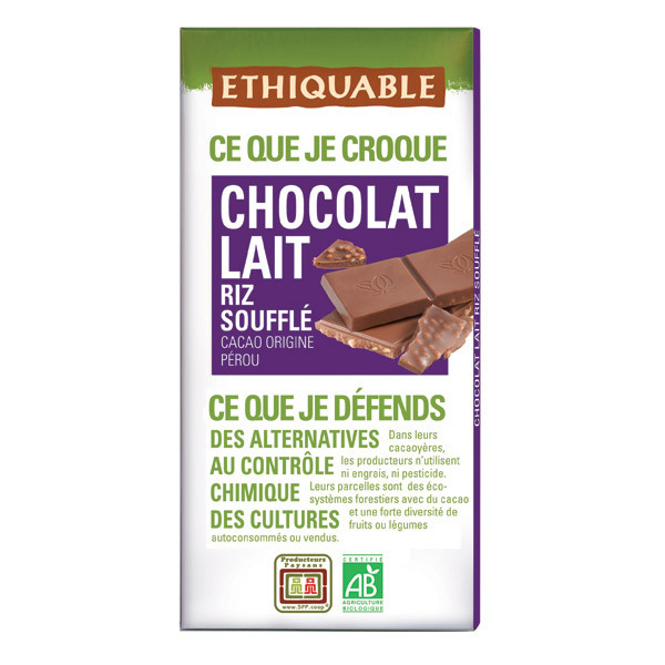 Ethiquable - Chocolat lait riz soufflé BIO 100g