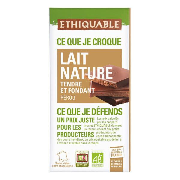 Ethiquable - Tablette chocolat  lait tendre et fondant Pérou 100g