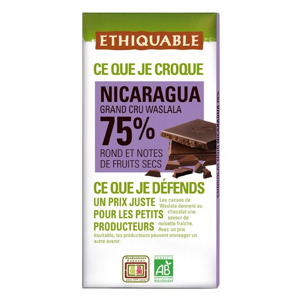 Ethiquable - Chocolat noir 75% cacao Nicaragua BIO 100g
