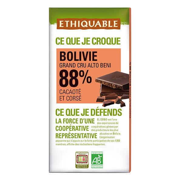 Ethiquable - Tablette chocolat  noir 88% cacao Bolivie 100g