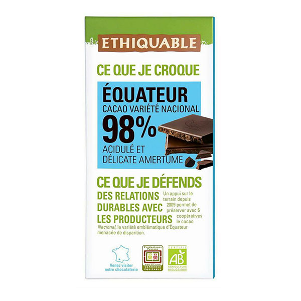 Ethiquable - Tablette chocolat  noir 98% Equateur Madagascar  100g