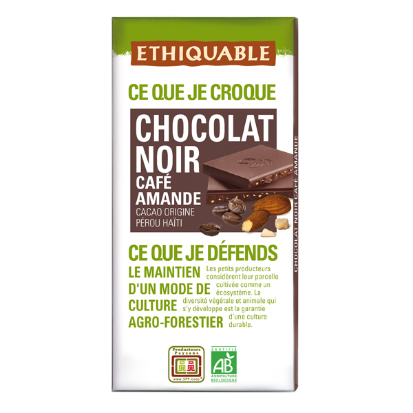 Ethiquable - Chocolat noir café amande BIO 100g