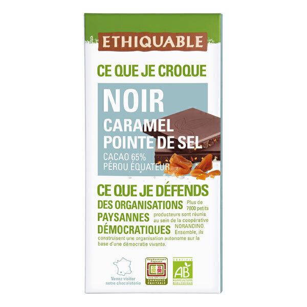 Ethiquable - Tablette chocolat  noir caramel pointe de sel Pérou Haïti 100g