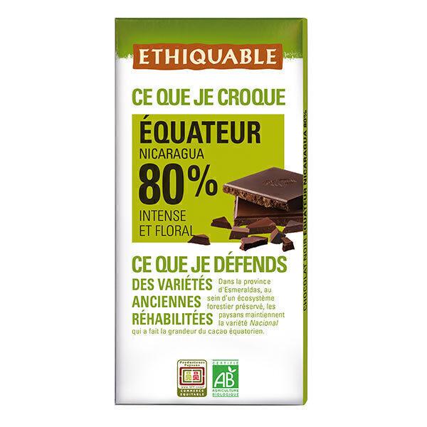 Ethiquable - Chocolat noir Equateur Nicaragua 80% BIO 100g