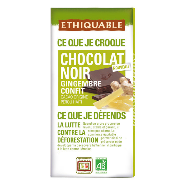 Ethiquable - Chocolat noir gingembre BIO 100g