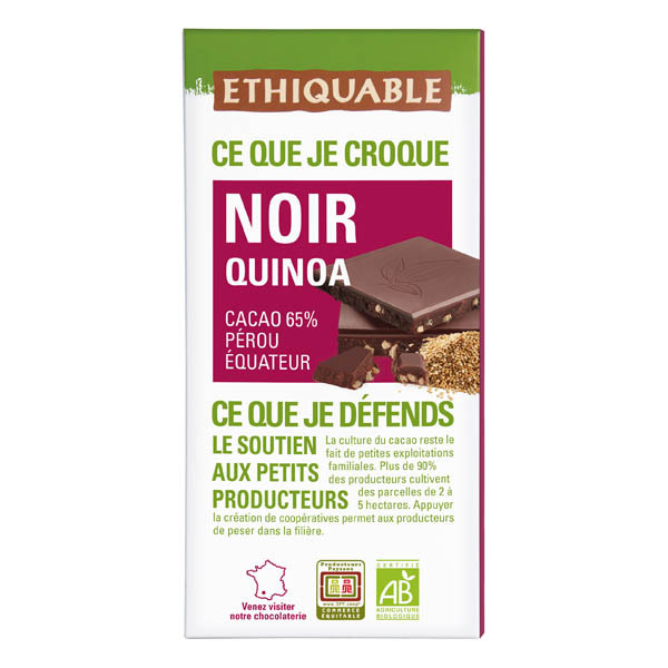 Ethiquable - Chocolat noir quinoa BIO 100g