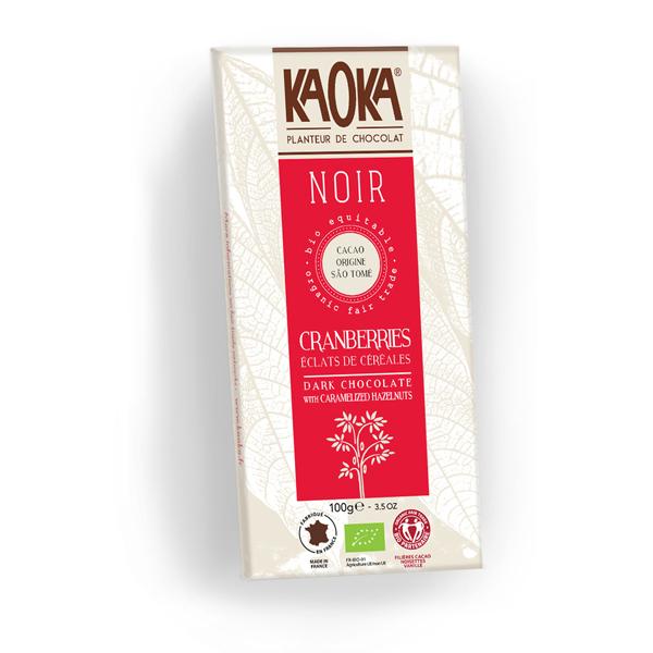 Kaoka - Tablette chocolat noir 66 % Cranberries Cereales 100g