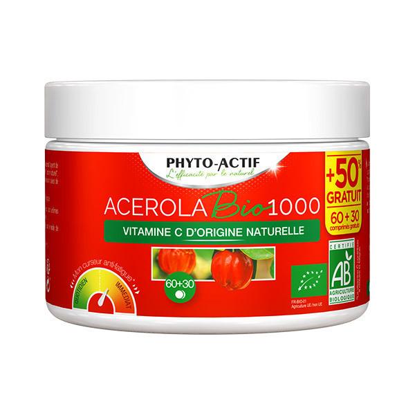 Phyto-Actif - Acérola 1000 Bio 60 Comprimés + 30 Comprimés Offert