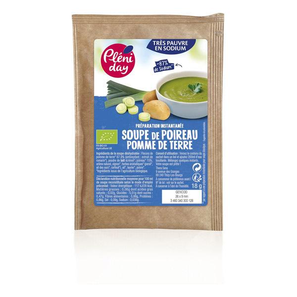 Pléniday - Soupe instantanée poireaux pommes de terre pauvre en sodium 18g