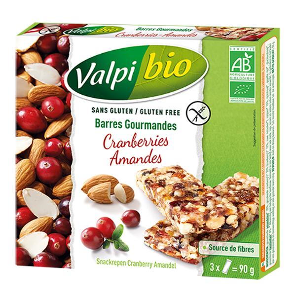 Valpibio - Barres Cranberries Amandes Bio 90g