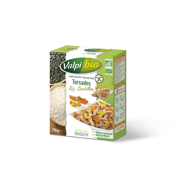 Valpibio - Torsades riz et lentilles Bio 250g