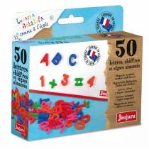Jeujura - Lettres majuscules et chiffres 50 magnets