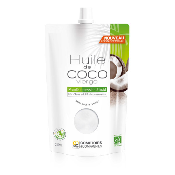 Comptoirs et Compagnies - Huile de Coco Vierge Bio - Doypack 250mL
