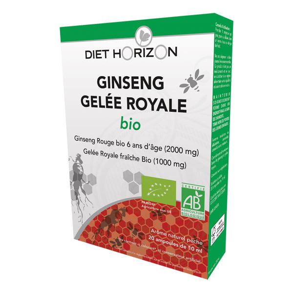 Diet Horizon - Lot de 2 x Ginseng Gelée Royale Bio - 2 x 20 ampoules de 10mL