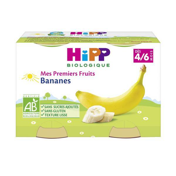 Hipp - Mes Premiers Fruits Bananes 2x125g Dès 4-6 mois
