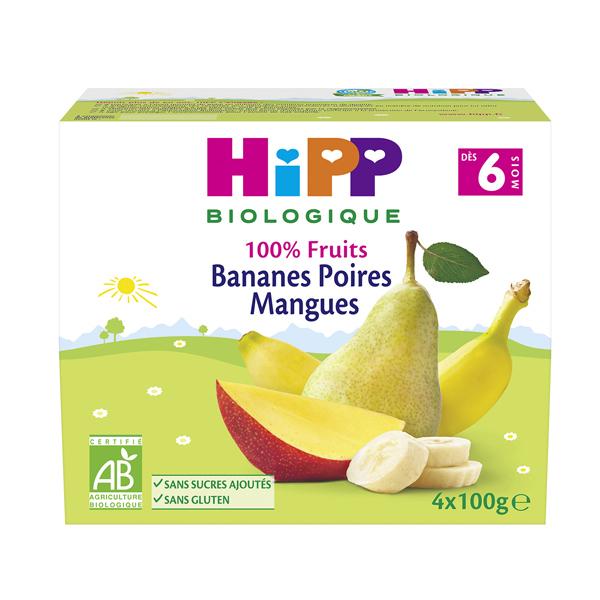 Hipp - Coupelle Purée Bananes Poires Mangues 4x100g 4-6mois
