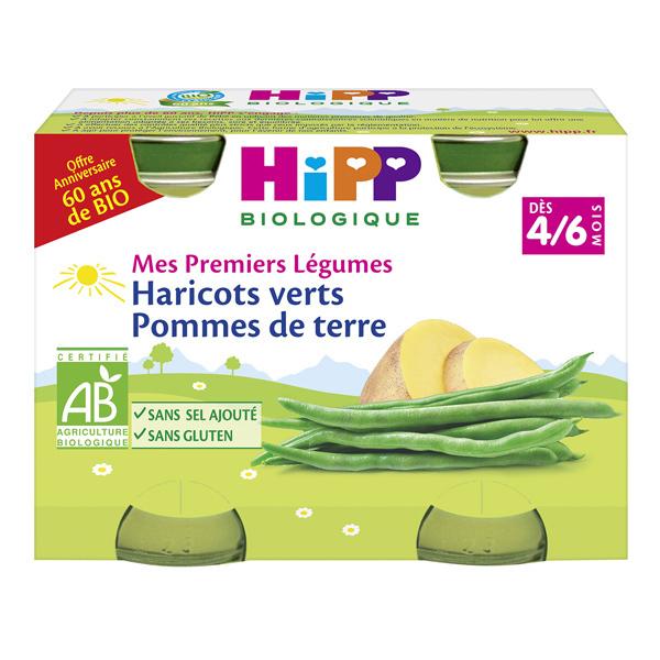 Hipp - 2 pots Haricots verts Pommes de terre 2x125g 4-6 mois