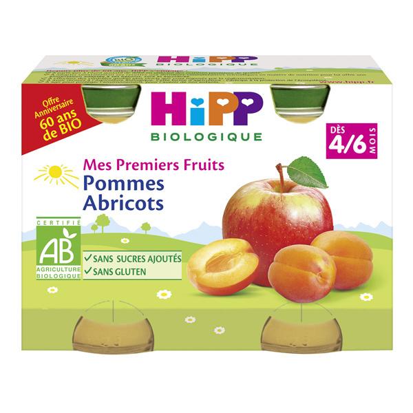 Hipp - Mes Premiers Fruits Pommes Abricots 2x125g Dès 4-6 mois