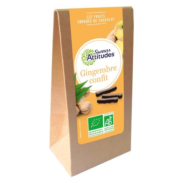 Saveurs Attitudes - Lamelles Gingembre confit enrobées de chocolat noir 125g