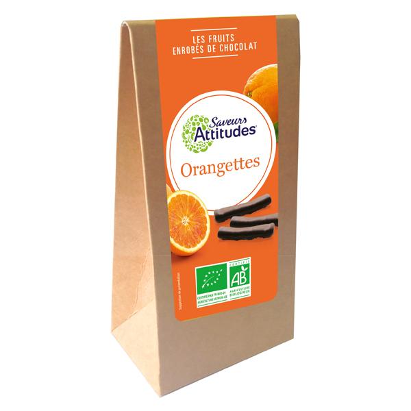Saveurs Attitudes - Orangettes enrobées de Chocolat Noir Bio 125g
