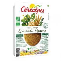 Céréalpes - 2 Galettes végétales aux épinards 180gr