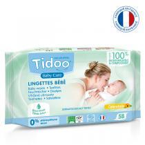 Tidoo - 58 Lingettes Bébé Bio Compostables Calendula