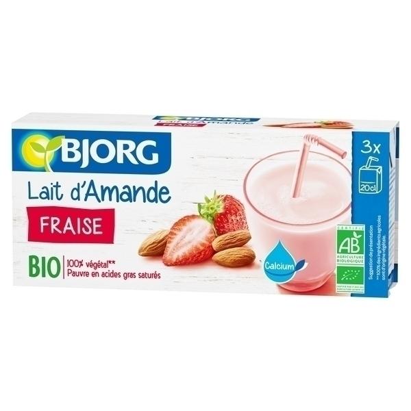 Lait d 39 amande fraise 3x20cl bjorg acheter sur for Amande cuisine bjorg