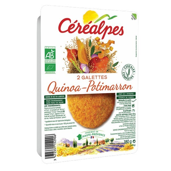 Céréalpes - 2 Galettes céréales quinoa potimaron 180gr