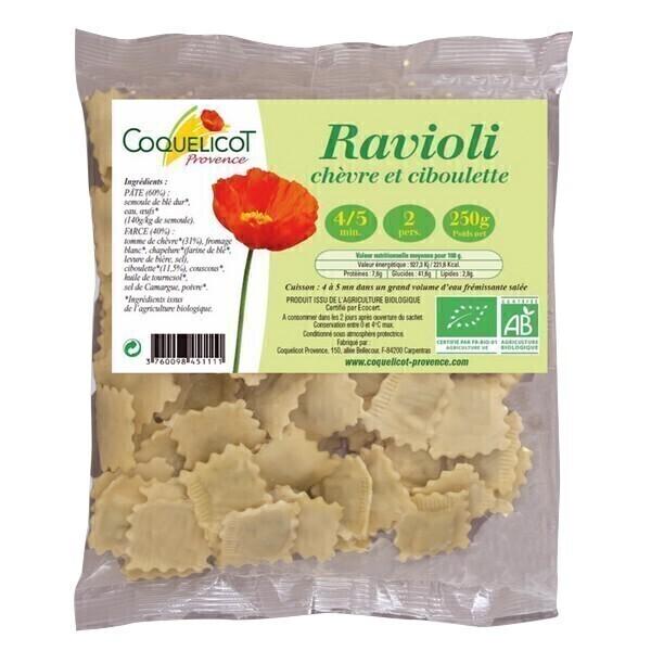 Coquelicot - Raviolis chèvre ciboulette 250gr