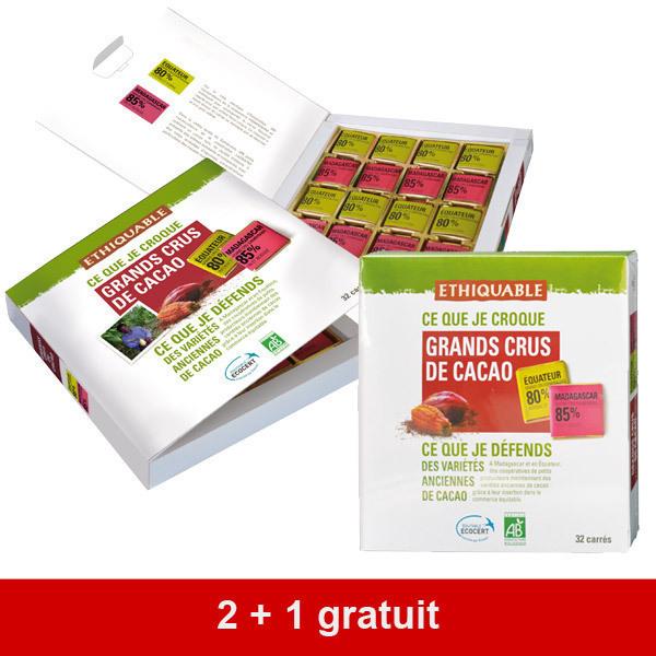 Ethiquable - 2 + 1 gratuit : Coffret carrés chocolat noir