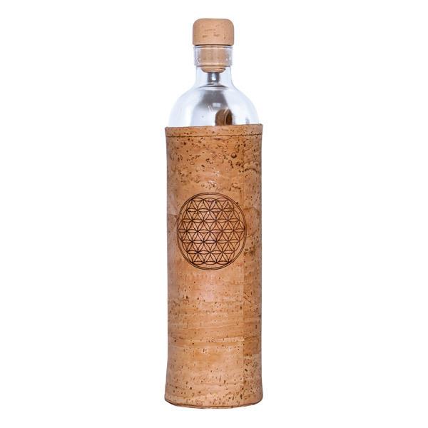 Flaska - Bouteille en verre et manchon en liège Fleur de vie 50cl