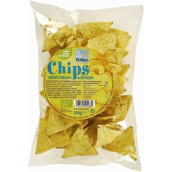 Pural - Chips maïs crème et oignons Tacos sour cream 125g