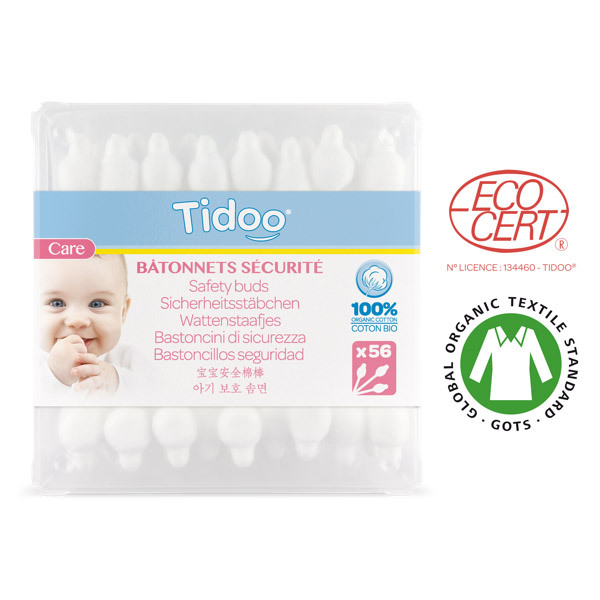 Tidoo - Cotons tige Bâtonnets de sécurité Bébé Coton bio x56