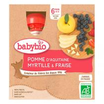 Babybio - Gourde Pomme Myrtille Fraise 4x90g