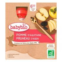 Babybio - Gourdes Pomme Pruneau 4 x 90g - Dès 6 mois