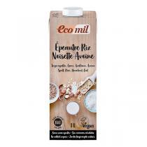 EcoMil - Boisson épeautre riz noisette avoine Bio 1L