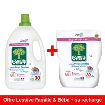 L'Arbre Vert - Lot Lessive Liquide Famille & Bébé 2L + sa Recharge de 2L