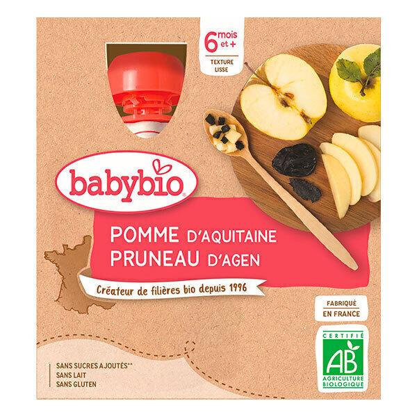 Babybio - Gourde Pomme Pruneau 4x90g