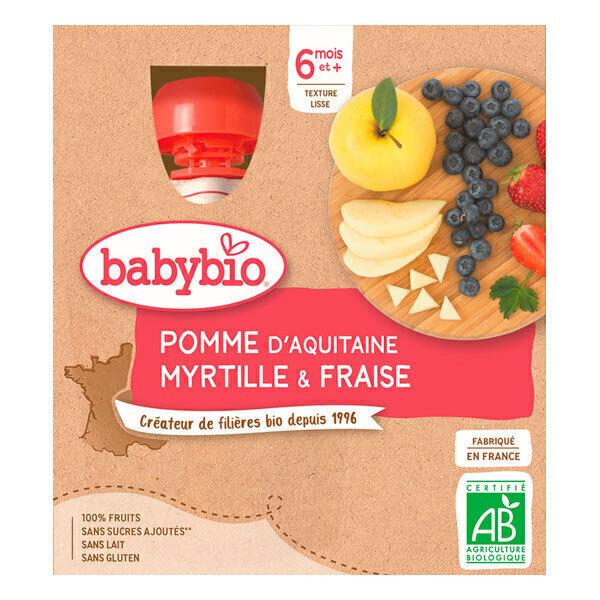 Babybio - Gourdes Pomme Myrtille Fraise 4 x 90g - Dès 6 mois