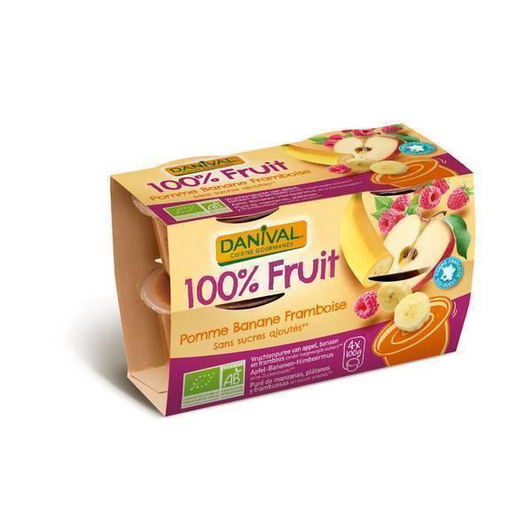 Danival - Purée Pommes banane framboises BIO 4 x 100g